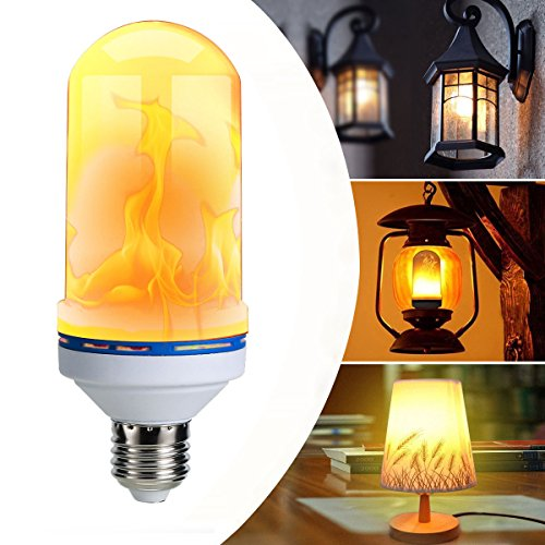 Oenbopo LED Flame Effect Fire Light Bulb, E27 E26 LED Flickering Flame Light Bulbs Simulated Decorative Light Atmosphere Lighting Vintage Flaming Lamp for Holiday Hotel / Bar / Party / Home Decoration (Floor Outdoor Lanterns)