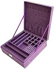 صندوق مجوهرات طبقتين بقماش زغب، حقيبة تخزين وعرض وتنظيم المجوهرات بقفل