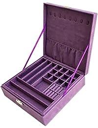 Purple Two-Layer Lint Jewelry Box Organizer Display Storage Case with Lock