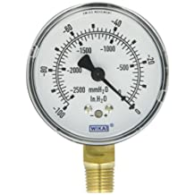"WIKA 9747473 Capsule Low Pressure Gauge, Dry-Filled, Copper Alloy Wetted Parts, 2-1/2"" Dial, 0-100""WC Vacuum (mmWC) Range, +/-1.5% Accuracy, 1/4"" Male NPT Connection, Bottom Mount"