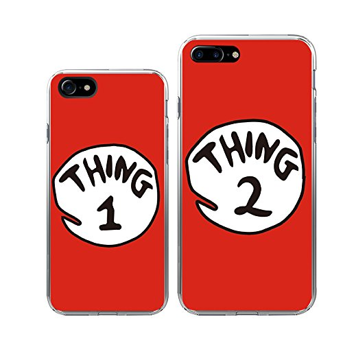 check out 9e788 a9190 iPhone 7+7Plus Couple Case-TTOTT 2x Floral Cute Red Thing 1 2 Design Best  Friend BFF Lovers Fashion Matching Couple Cases Slim Bumper Cover Case[Left  ...