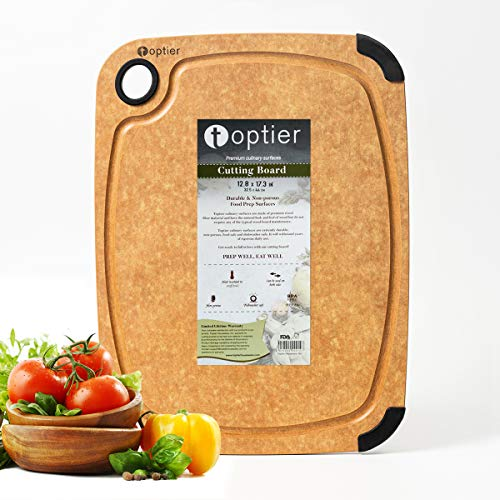 Cutting Board, TOPTIER Wood Fiber Cutting Board for Kitchen, BPA Free, Dishwasher Safe, Reversible, Juice Grooves, Eco-Friendly, Non Porous, Natural Large Cutting Board, 17.5 x 13-inch, Natural Slate
