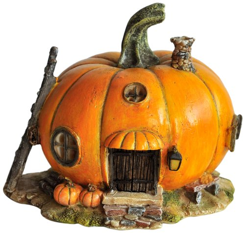 Top Collection Miniature Fairy Garden and Terrarium Orange Pumpkin Fairy House Statue, 4 by 4.5-Inch