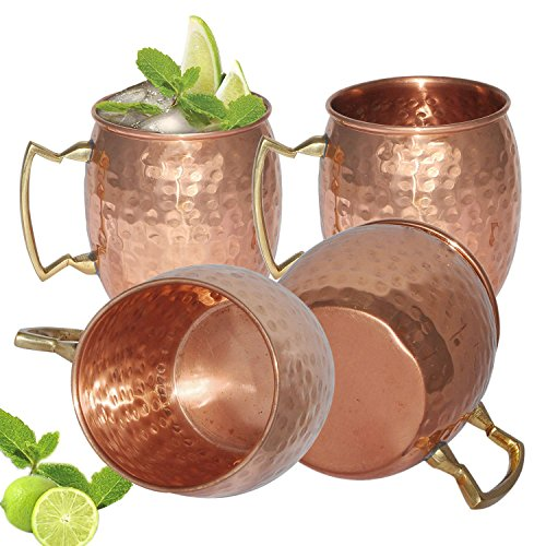 FIGO INC ® 100% Pure copper hammered Moscow Mule mugs Set of 4 by FIGO