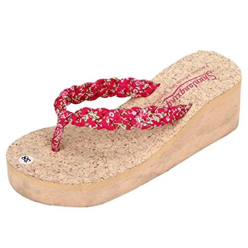 Tongshi Verano Bohemia floral dulce Sandalias sandalias de los fracasos del clip del dedo del pie zapatos de playa Rosa caliente