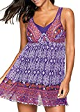 ECOFUN Womens 2 Piece Bikini Spaghetti Strap Printed Padded Tank Top Tankini Swimsuits Women Purple 3XL(18-20)