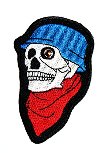 HHO Skull & Red Crossbones with Singlasses Large Cloth Patch Applique Embroidered Sew Iron on Patch Skull logo Halloween Iron On Patch Sew Iron on Kids Craft Patch for Bags - Singlasses