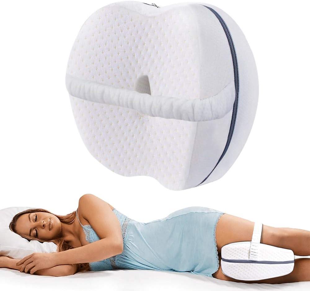 VDSOW Almohada de rodilla para dormir lateral, espuma viscoelástica para dormir lateral con correa elástica, Cojín de apoyo para la rodilla para cadera y espalda y alivio de presión, color blanco