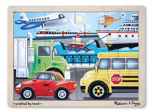 Melissa & Doug On-the-Go Vehicles Wooden Jigsaw Puzzle With Storage Tray (12 -