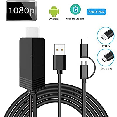 2-in-1 USB Type C/Micro USB to HDMI Cable, MayLowen MHL to HDMI Adapter 1080P HD HDTV Mirroring & Charging Cable for All Android Smartphones to TV/Projector/Monitor