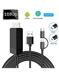 2-in-1 USB Type C Micro USB to HDMI Cable, MayLowen MHL to HDMI Adapter 1080P HD HDTV Mirroring & Charging Cable for All Android Smartphones to TV Projector Monitor