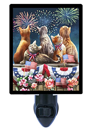Night Light, Front Row Seat, Patriotic, Fireworks, Cats, 4th of - Patriotic Row