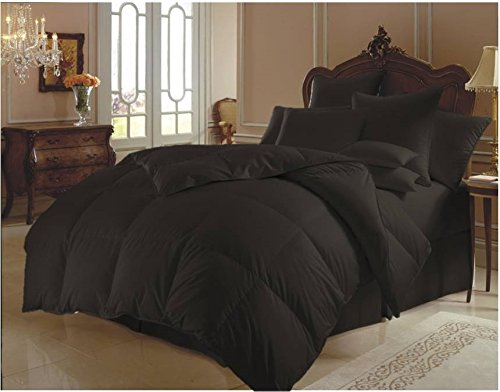 Ten Piece Super Soft Quilt Goose Down Comforter 300 GSM 500 Thread Count with Duvet Set and Sheet Set 100% Egyptian Cotton Solid Olympic Queen, Black by Sao's Silvalinen