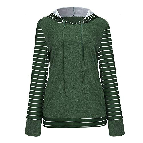 Wintialy Plus Size Women Long Sleeve Stripe Print Pullover Pocket Hooded Sweatshirt Tops