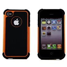 iPhone 4 4S 4G Armor High Impact Heavy Duty Defender Hybrid Hard Soft Case - Orange