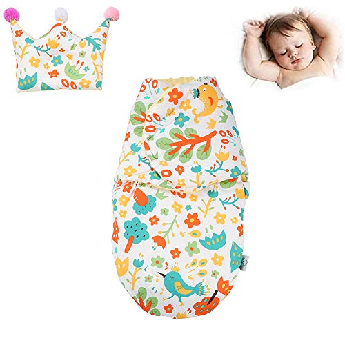 Baby Sleep Sack Cotton Swaddle - Soft Plush Dot Velboa Baby Sleeping Bag Blanket, Unisex Designs Swaddle Perfect for 0-6 Month Newborn Baby Boys Or Girls - Gift Box Pack (Forest Bird) White