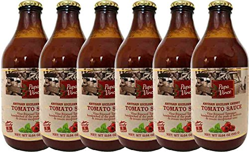 Italian Tomato Sauce No Sugar Added, Low Sodium, Low acid | from Sicily, made w/ vine-ripened tomatoes handpicked at the peak of freshness to ensure exceptional taste | 11.6 oz (6-Pack) - Papa Vince (Diced Tomatoes Jar compare prices)