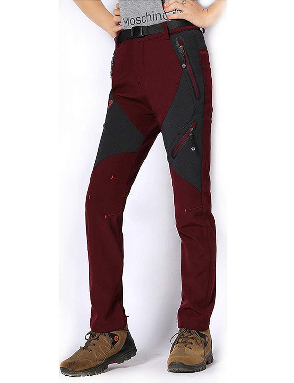 MAGCOMSEN Womens Fleece Lined Softshell Pants Waterproof Snowboarding Skiing Pants with 4 Zip Pockets