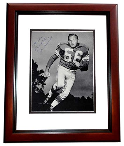 Joe Schmidt Detroit Lions - Joe Schmidt Signed - Autographed Detroit Lions Vintage 8x10 inch Photo with TO TOM personalization MAHOGANY CUSTOM FRAME - Guaranteed to pass PSA or JSA
