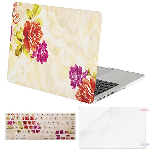 Mosiso Plastic Pattern Hard Case with Keyboard Cover with Screen Protector Only for MacBook Pro Retina 13 Inch No CD-Rom (A1502 / A1425, Version 2015/2014/2013/end 2012), Gold Marble Peony (Pattern Peony)