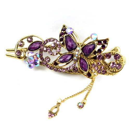 DZT1968® Top vendeur Purple Lovely Vintage bijoux cristal papillon barettes cheveux bâton-pour pince à cheveux beauté outils (1)