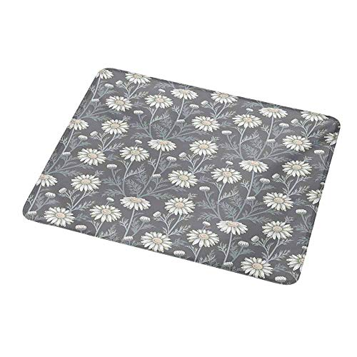 Mouse Pad Custom Floral,Cottage Daisy Petals Field Summer Gardening Theme Chamomile Flourish,Grey Coconut Sage Green,Personalized Design Non-Slip Rubber Mouse pad 9.8