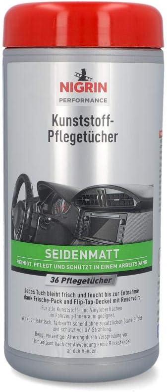 Nigrin Kunststoff Pflege Tücher Matt Feuchte Tücher Für Kunststoff Und Vinyoberflächen Im Fahrzeug Innenraum 36 Stück Auto