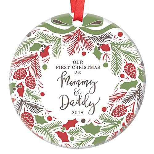 First Christmas as Mommy & Daddy 2018 Ornament Festive Ceramic Family Keepsake Present for 1st Holiday as New Parents Baby Infant Son Daughter 3 Flat Porcelain with Red Ribbon & Free Gift Box OR00134