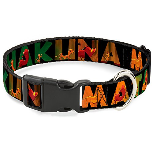 Buckle-Down Hakuna Matata Black/Lion King Scenes Disney Breakaway Plastic Clip Collar, Narrow-Medium