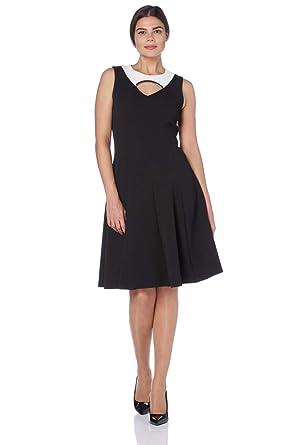 Roman Originals Women s Black Fit and Flare Colour Block Dress Sizes 10-20  - Black 644f5a1ddb
