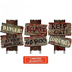 Halloween Yard Decorations Outdoor Warning Signs Creepy SET OF 3 Keep Out