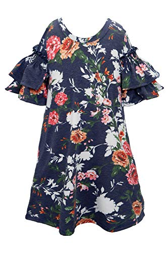 Truly Me, Big Girls' Printed Knit Dress with Short Ruffle Sleeves, Size 7-16 (Navy Shadow, 8)