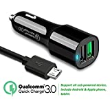xperia z3 warranty - Quick charge 3.0 Car Charger Dual USB Port with 5Ft Micro USB Cable for Samsung Galaxy J7,S7 Edge/S7,S6 Edge/S6,Huawei honor 7x/6x, Nokia 6,Sony Xperia Z3,LG Q6, Motorola Moto G5S/G5 PLUS