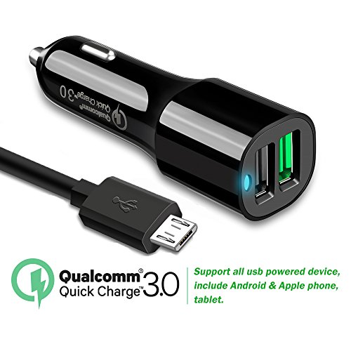 Price comparison product image Quick charge 3.0 Car Charger Dual USB Port with Micro USB Cable for HTC One X10, One A9, One M9/M9Plus/M8/M7,HTC 10,HTC Desire, Blackberry Priv, Amazon Kindle Fire 7, Fire HD8 HD10 Tablet