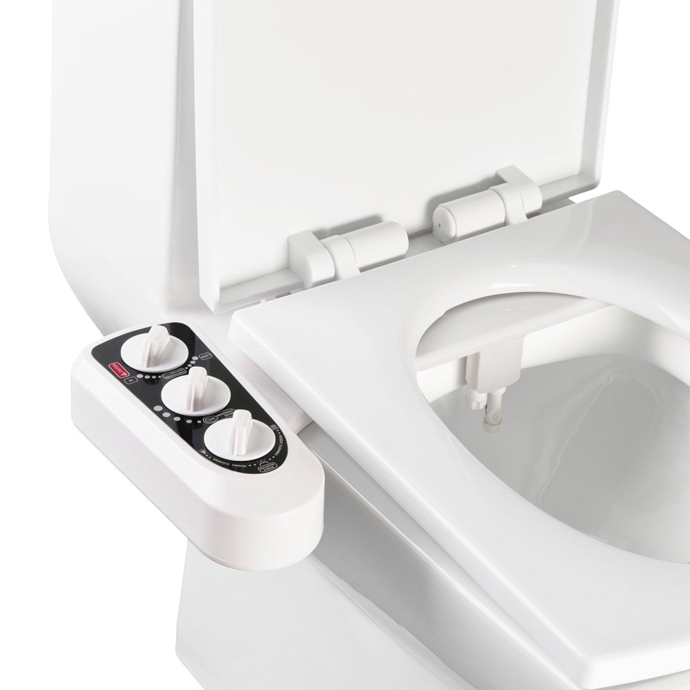 PowerDoF CB2000 Non-Electric Mechanical Bidet Cold and Hot Water Cleaning/Dual Nozzles/Self-Cleaning/Water Pressure Control Toilet Seat (White)