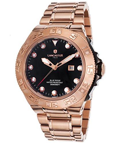Lancaster Italy Ola1062mb-Rg-Nr Men's Blue Ridge Rose-Tone Ss Black Dial Watch (Rose Blue Ridge)