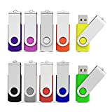 Aiibe 10pcs 8GB USB Flash Drives 8G Memory Stick Thumb Drives (10 Colors: Black Blue Green Orange Red Pink Yellow White Purple Silver)