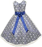 Lace Overlay Special Occasion Dress with Satin Sash & Rhinestone Brooch