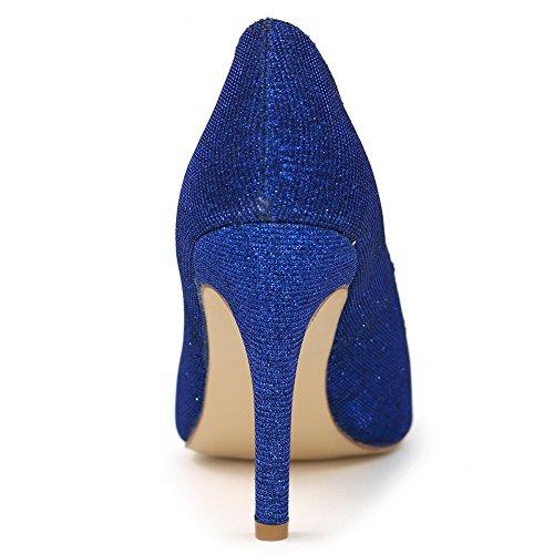 Loslandifen Scarpe Da Sera Da Donna Scarpe Da Sposa Con Tacco Alto In Raso Scarpe Da Sposa Blu Glitter