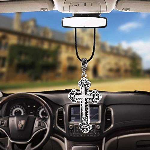 BEMOST Car Pendant Charms Cross Rear View Mirror Decorations Hanging Decor Ornaments car Accessories (Silver with Black)