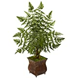 Nearly Natural 5654 Ruffle Fern Artificial Palm Tree in Metal Planter Silk, Green