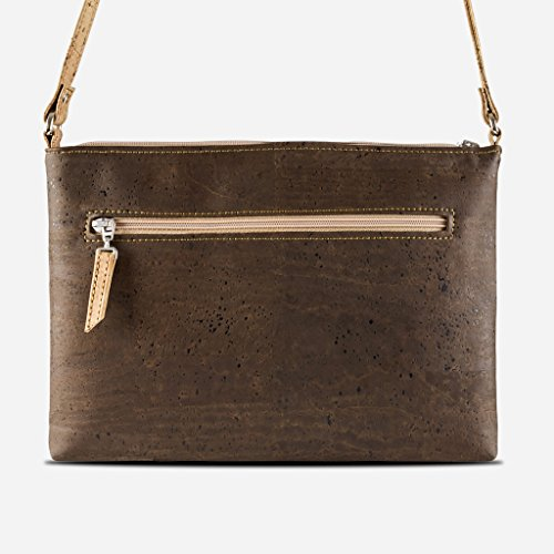 Brown Body Pockets Red Strap Across Vegan Corkor Leather Color Front Cross Body Cork Dark Bag Women for 5anwqfY