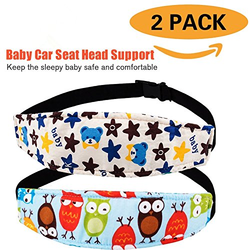 Pack of 2, Baby Kids Safety Head Support Band and Toddler Car Seat Neck Relief, Adjustable Car Seat Sleeping Head Support Strap, Offers Protection and Safety for Children (Blue Bear + Blue - Support Adjustable Head