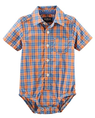 OshKosh B'Gosh Baby Boys' Short Sleeve, Button-Front, Poplin Bodysuits (Orange Plaid, 18-24 Months)