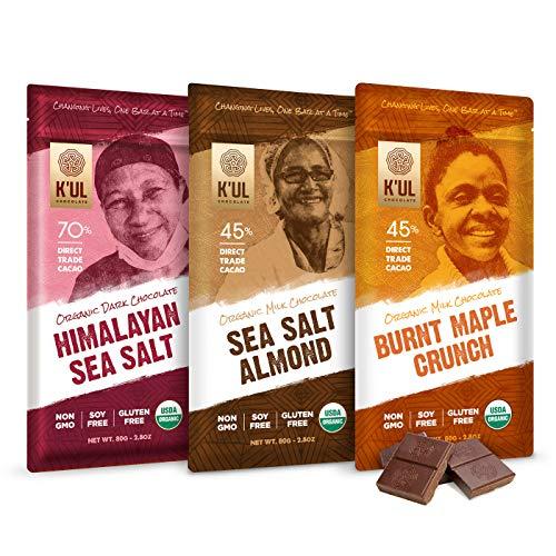 K'UL CHOCOLATE Bars | 3 Pack Chocolate | Burnt Maple Crunch Milk Chocolate | Sea Salt Almond Milk Chocolate | Himalayan Sea Salt Dark Chocolate | Organic, Soy-Free, Gluten-Free, Non-Gmo | 2.8oz Each (Chocolate Bars Organic)