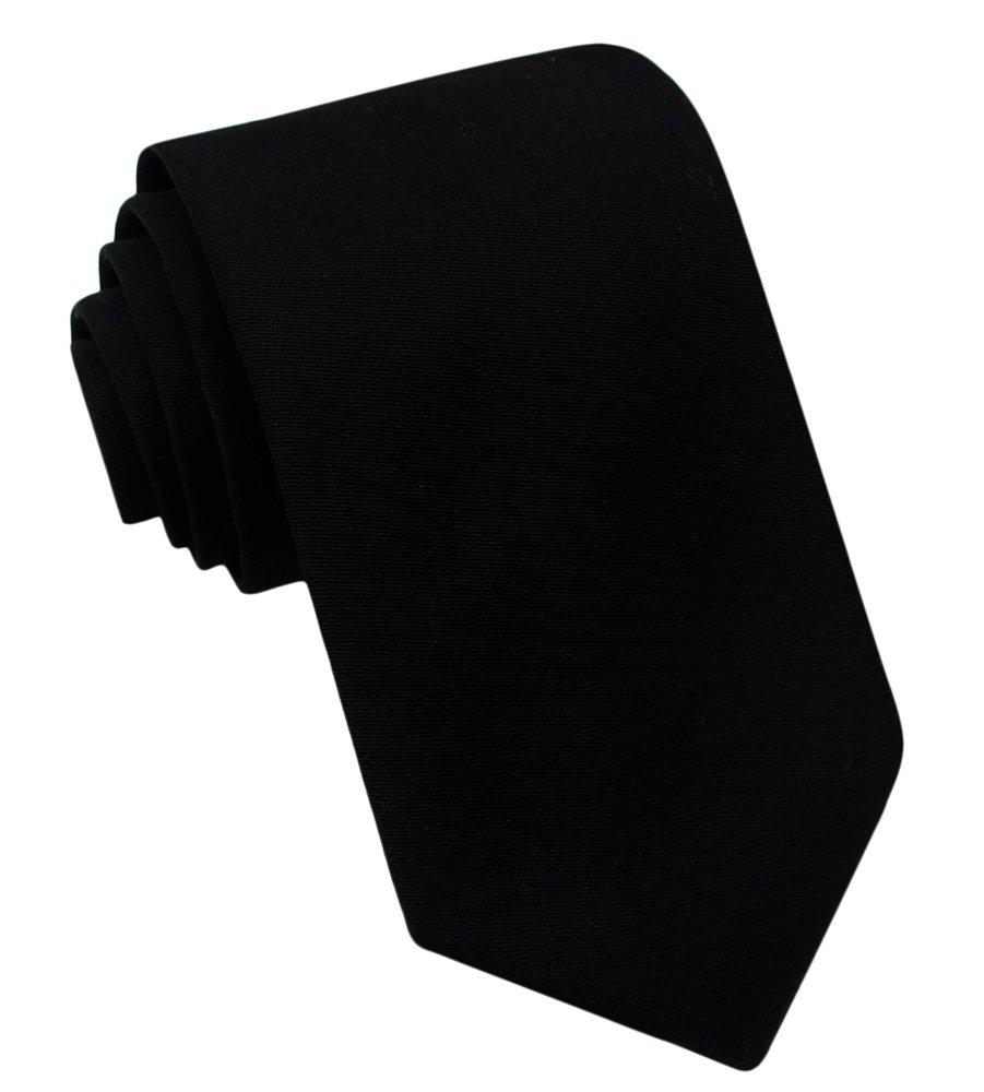 Kebs Basic Mens Solid Color Cotton Necktie Regular Tie for Men - Black
