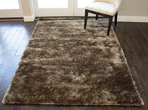 Shag Shaggy Fuzzy Fluffy Fuzzy Plush Solid Soft Area Rug Carpet Modern Contemporary Living Room Bedroom Large 5x7 Champagne Dark Beige Tan Neutral Two Tone Color Sale Cheap ( Aroma Champagne )
