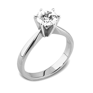 9daff35cc1f8a Abelini 9K White Gold Certified I1 HI 100% Natural Round Diamond Solitaire  Engagement Rings (Available in 0.10-1.00CT)  Amazon.co.uk  Jewellery