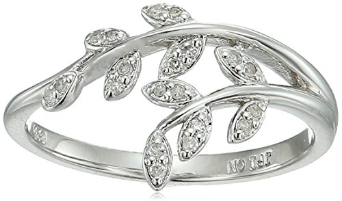 - Sterling Silver Leaf Diamond Accent Ring, Size 7