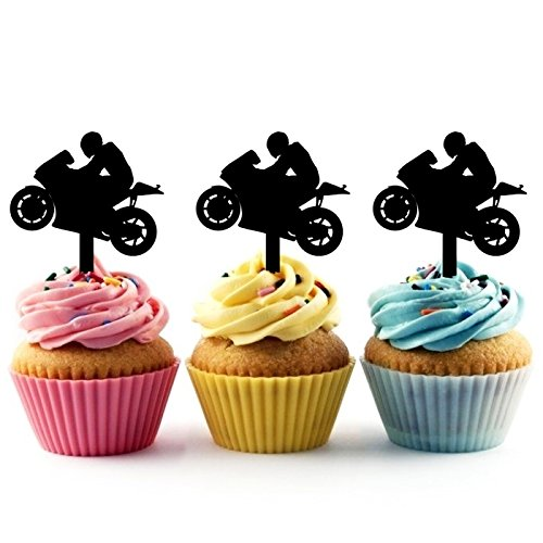 TA0202 Motorcycle Racing Sport Silhouette Party Wedding Birthday Acrylic Cupcake Toppers Decor 10 pcs -